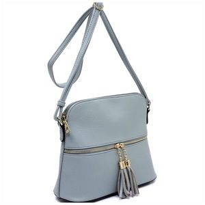 Blue Tassel Zip Dome Crossbody Bag Satchel